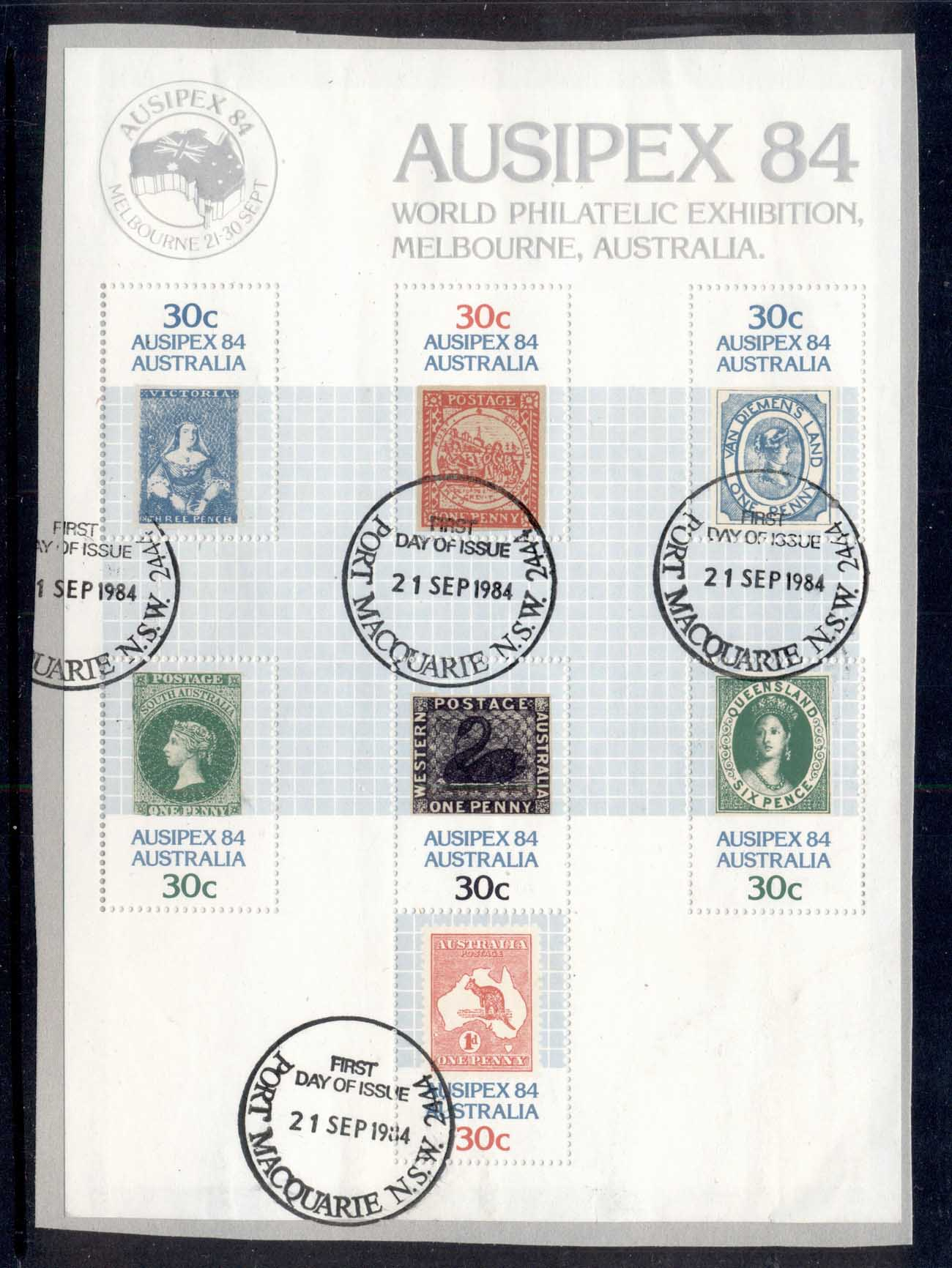 Australia 1984 AUSIPEX MS on piece Port Macquarie FDI