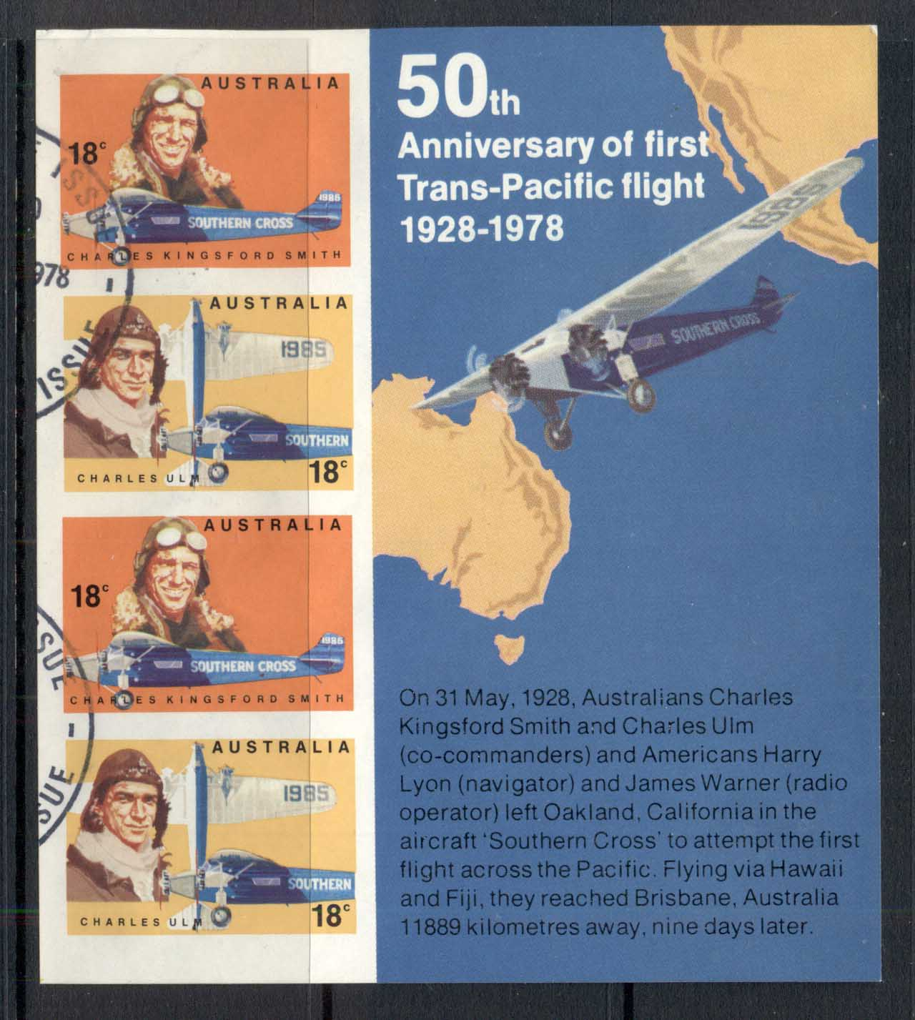 Australia 1978 Trans Pacific Flight MS FU