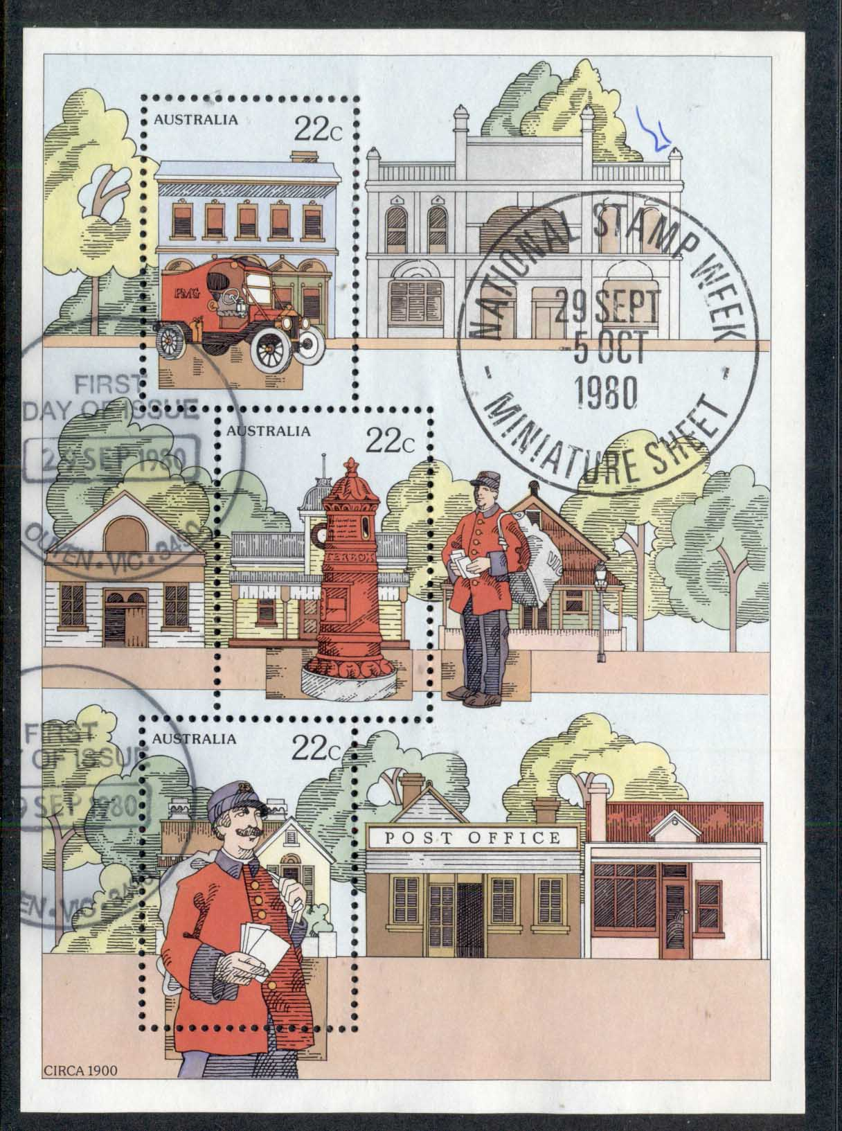 Australia 1980 Stamp Week MS Ouyen FDI