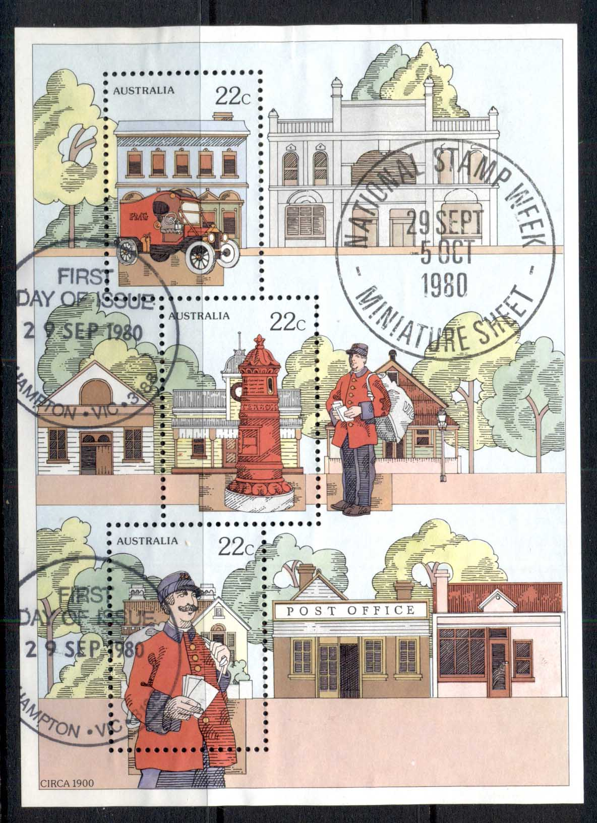 Australia 1980 Stamp Week MS Hampton FDI