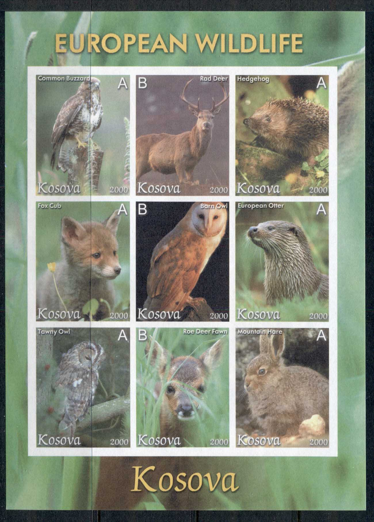 Kosova 2000 c. European Wildlife IMPERF MS MUH