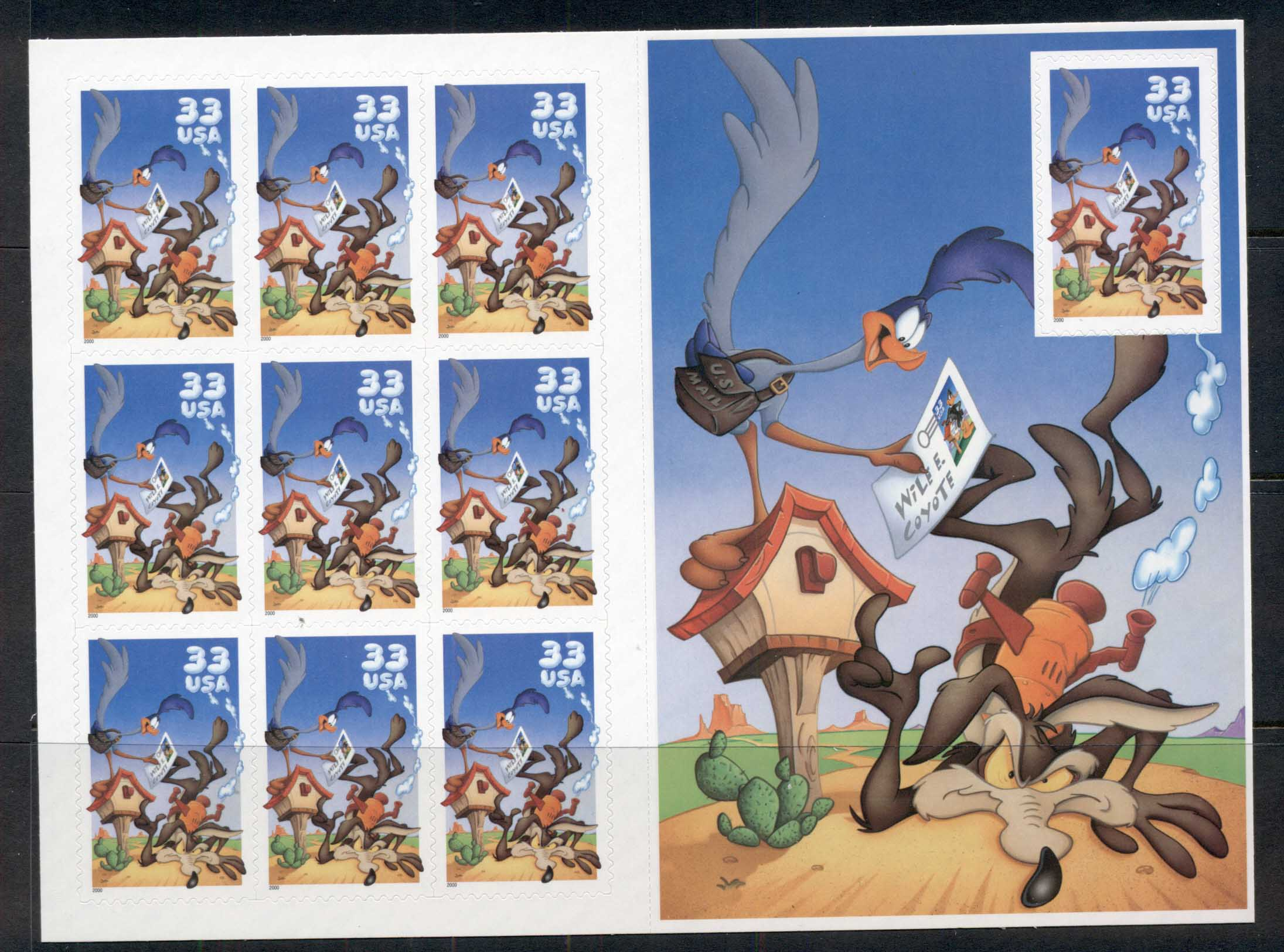 USA 2000 Sc#3391 Road Runner & Wile E Coyote pane 10 MUH