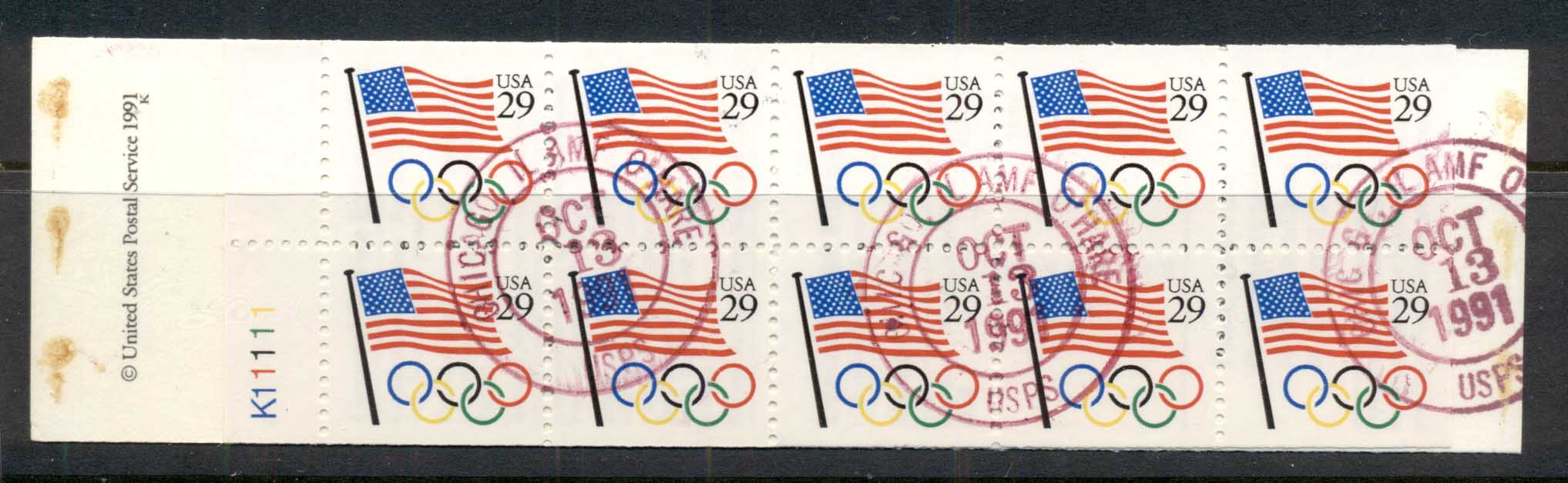 USA 1991 Sc#2528 Flag, Olympic Rings booklet pane FU