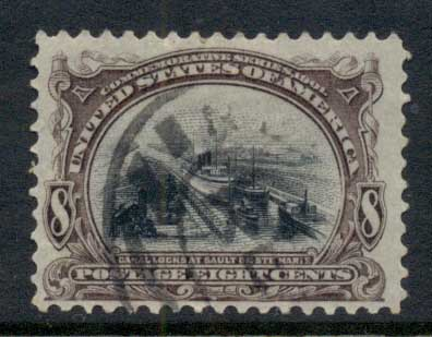 USA 1901 Sc#298 Pan-American Exposition 8c Canal Locks FU