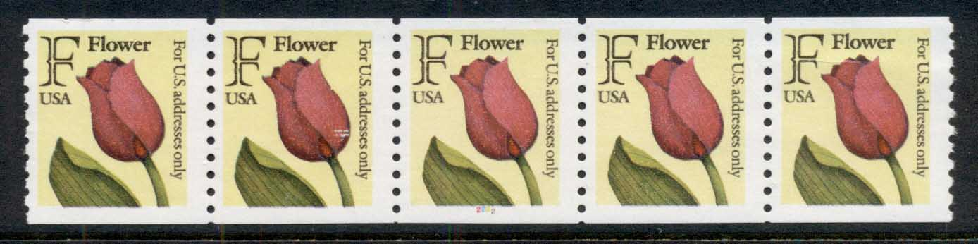 USA 1991 Sc#2518 Flower coil str 4 P#2222 MUH