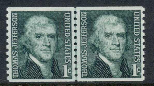 USA 1965-78 Sc#1299 Thomas Jefferson Coil line pr MUH