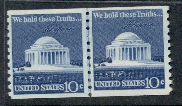 USA 1973 Sc#1520 Jefferson Memorial coil line pr MUH