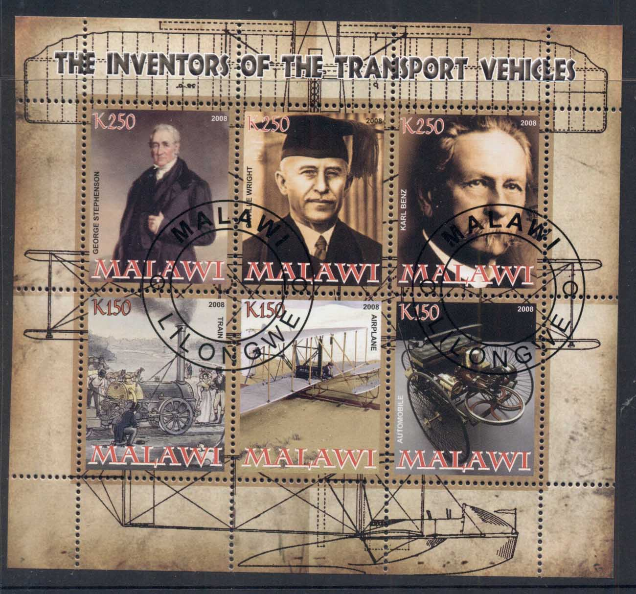 Malawi 2008 Inventors of the Transport Vehicles, Train, Airplane, Car MS CTO