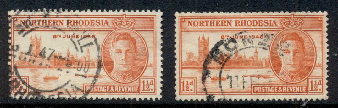 Northern Rhodesia 1946 Victory 1.5d, both perfs. FU