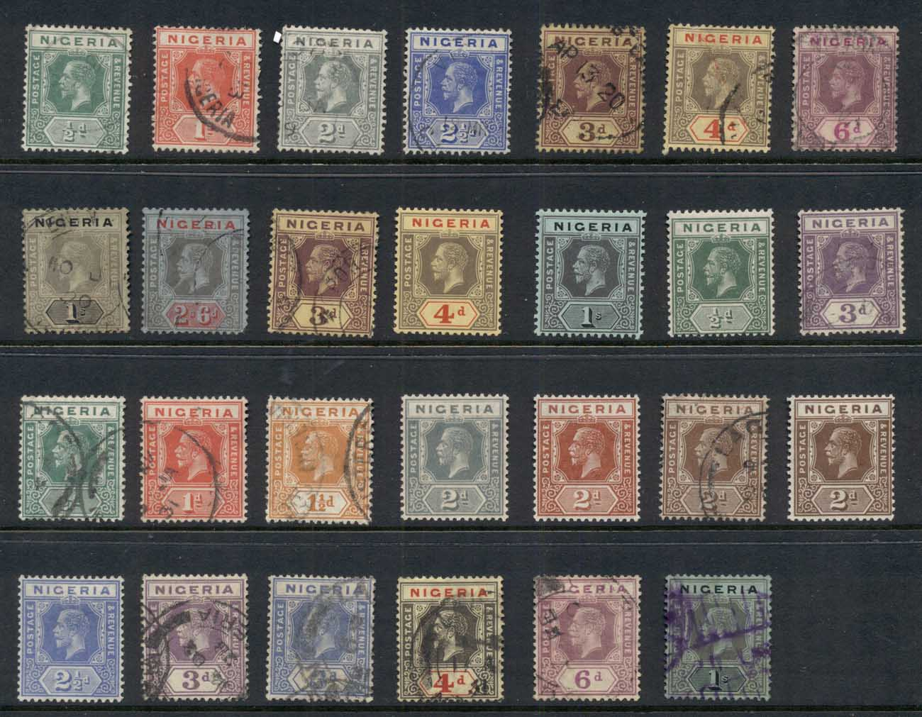 Nigeria 1914-33 KGV Portraits Assorted MLH/FU
