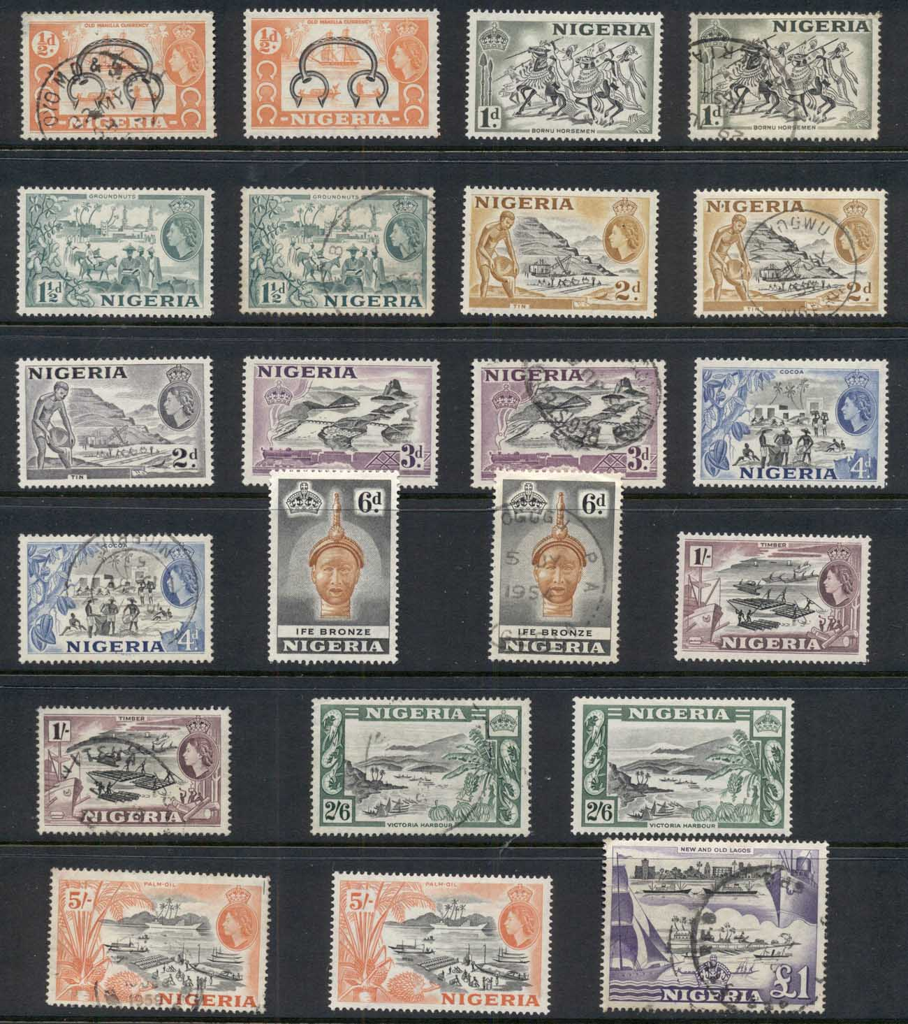Nigeria 1953-57 QEII Pictorials Assorted FU/MLH
