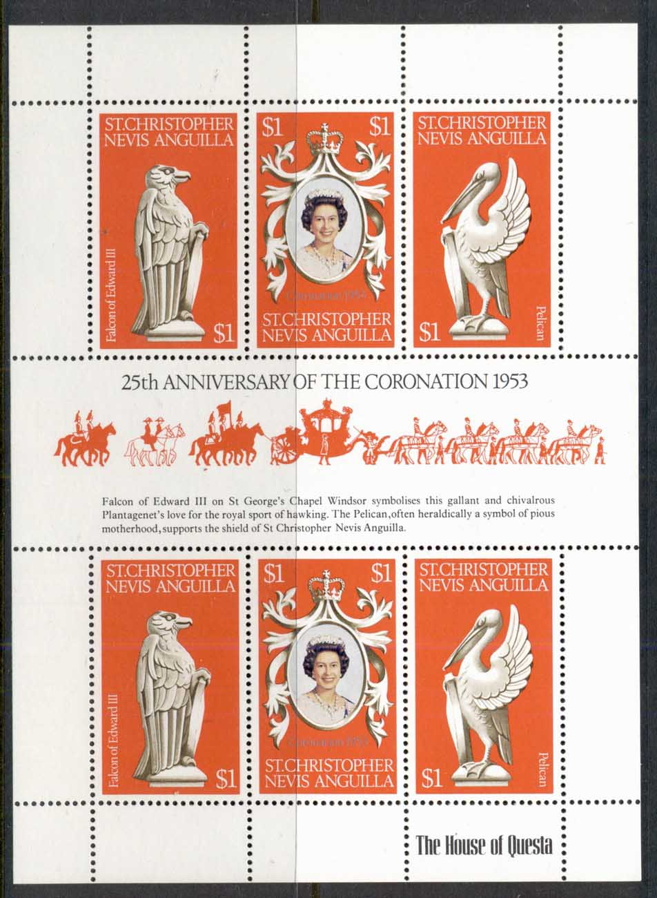 St Christopher Nevis Anguilla 1978 QEII Coronation 25th Anniv. Sheetlet MUH