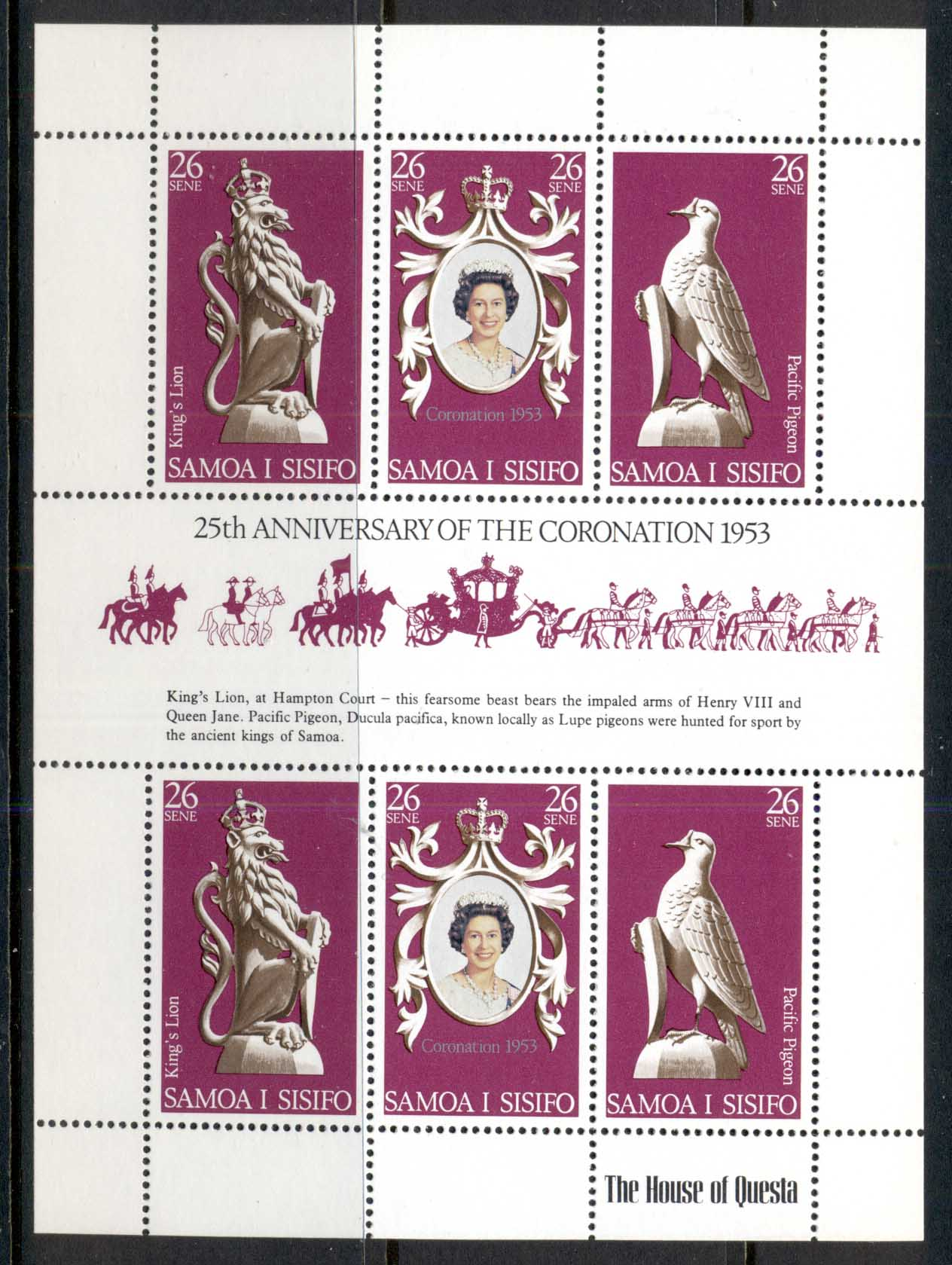 Samoa 1978 QEII Coronation 25th Anniv. Sheetlet MUH
