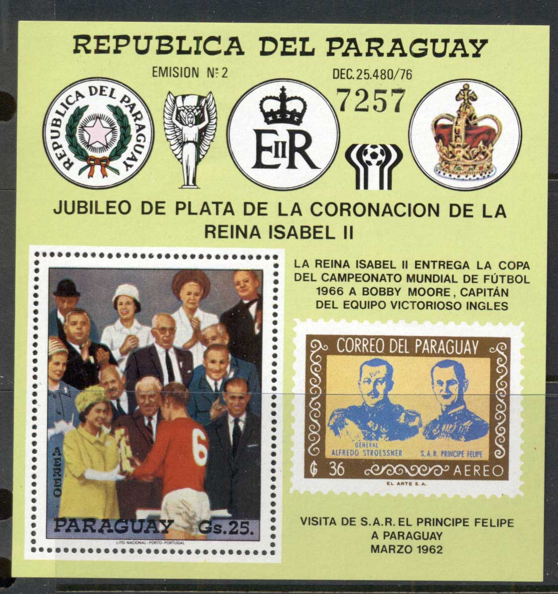 Paraguay 1978 QEII Coronation 25th Anniv. Football presentation MS MUH