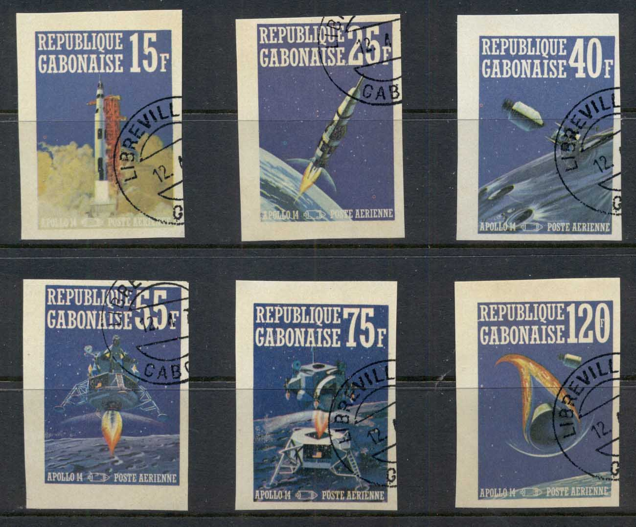 Gabon 1971 Apollo 14 Space Mission IMPERF CTO