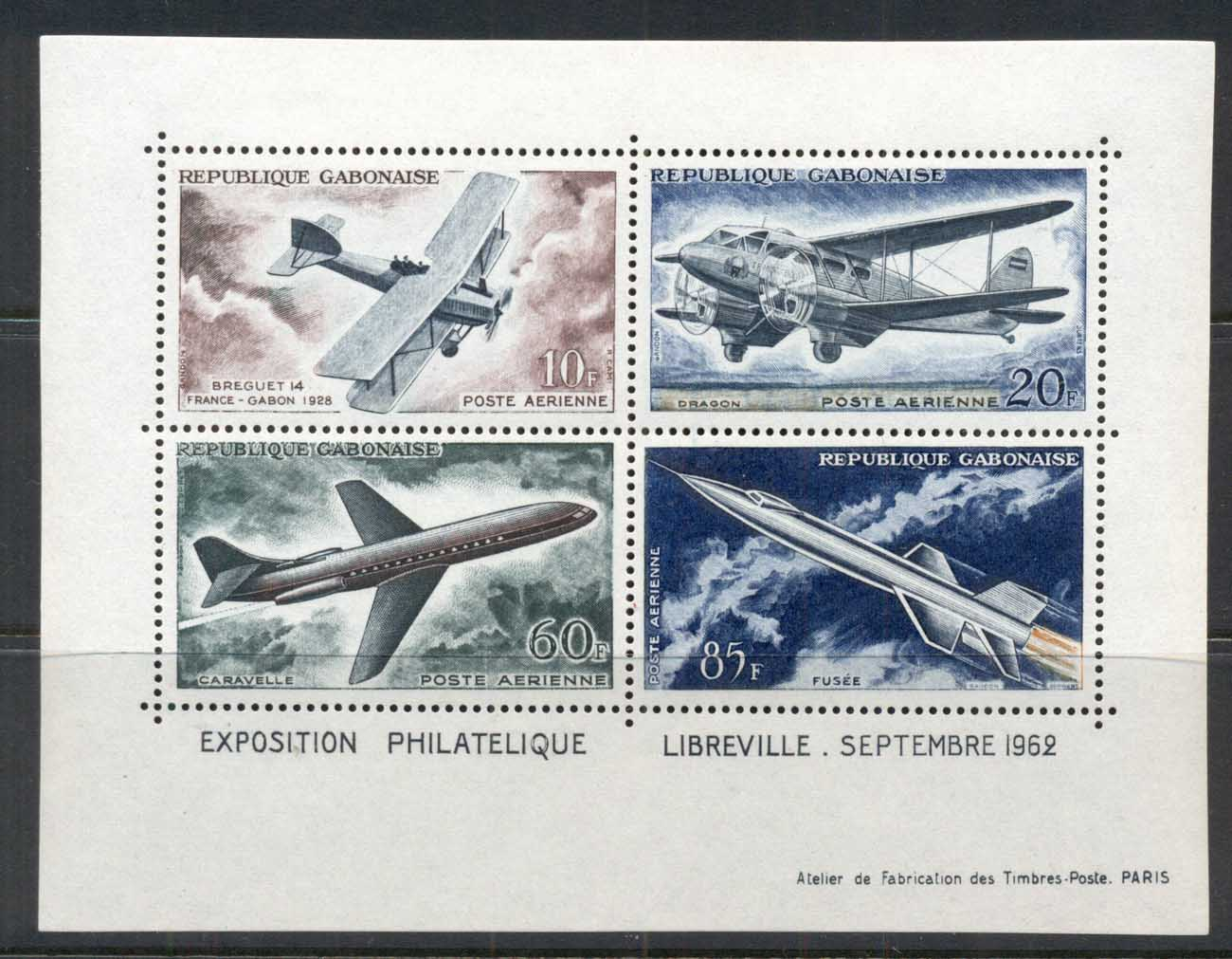 Gabon 1962 Development of Air Transport, Stamp Ex Libreville MS MUH
