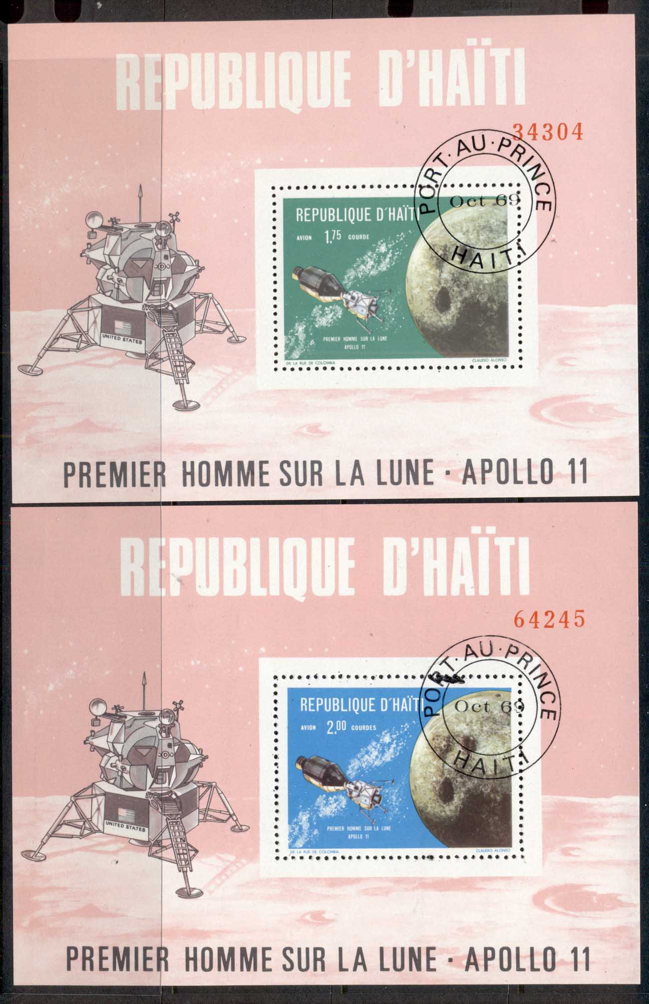 Haiti 1969 Apollo Space Missions 2x MS CTO
