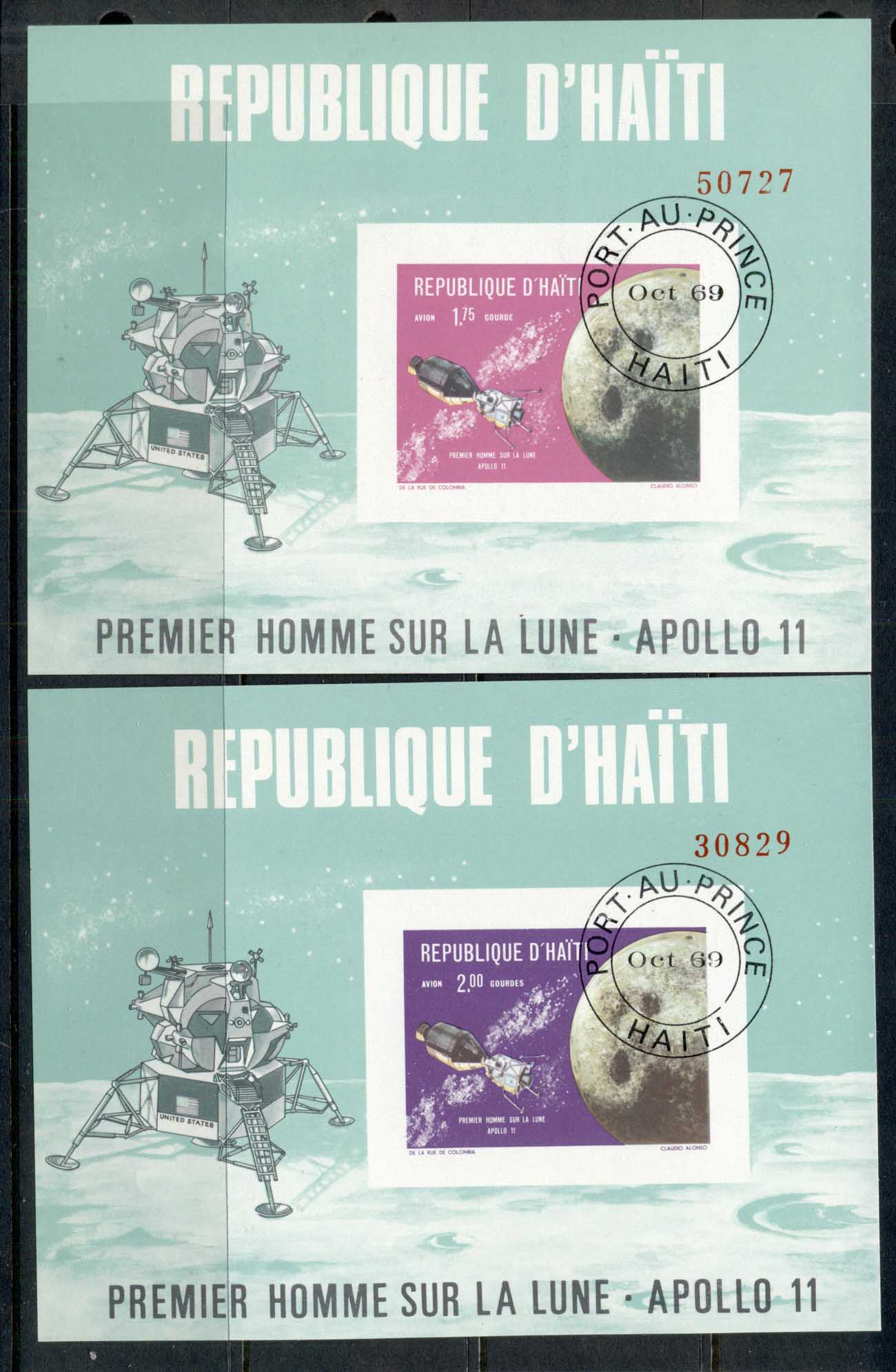 Haiti 1969 Apollo Space Missions 2x MS IMPERF CTO