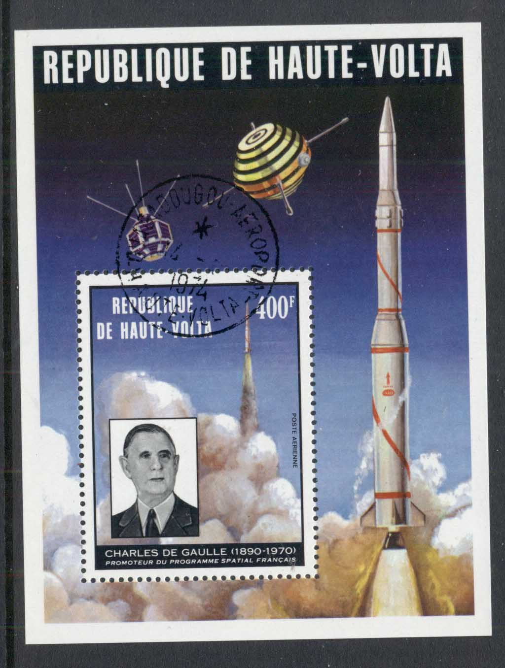 Upper Volta 1974 Charles de Gaulle, French Space Rocket MS CTO