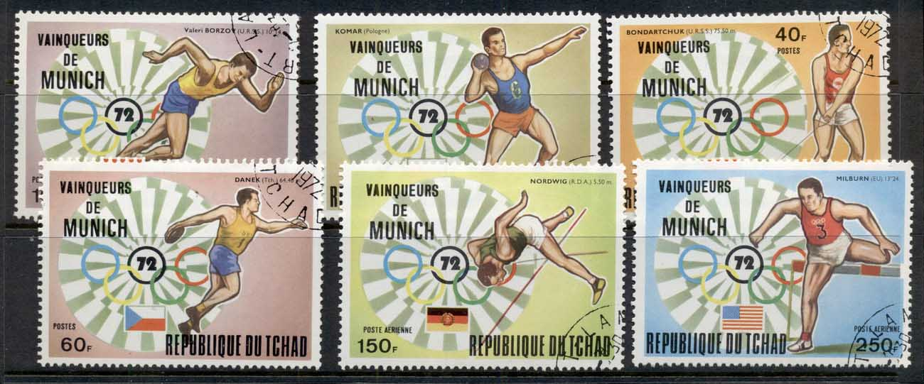 Chad 1972 Summer Olympics, Munich Winners CTO