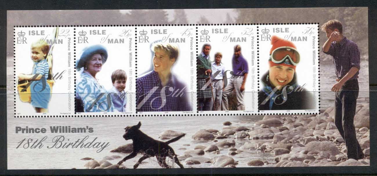 Isle of Man 2000 Royalty, Prince William 18th Birthday MS MUH