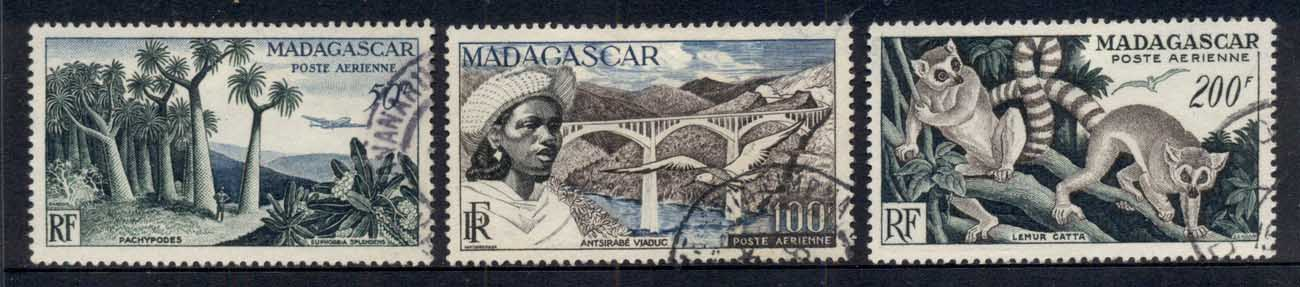 Madagascar 1954 Airmail, Views, Bridge, Lemur FU