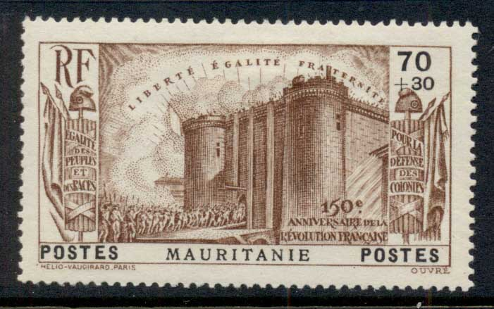 Mauritania 1939 French Revolution 70c+30c MLH