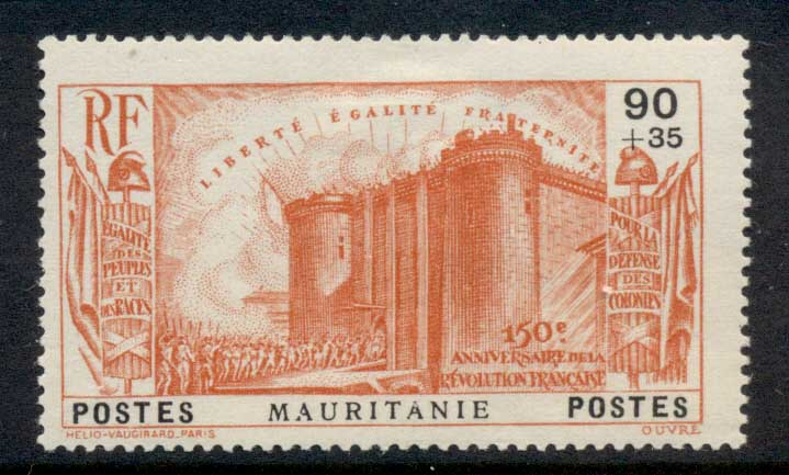 Mauritania 1939 French Revolution 90c+35c MLH