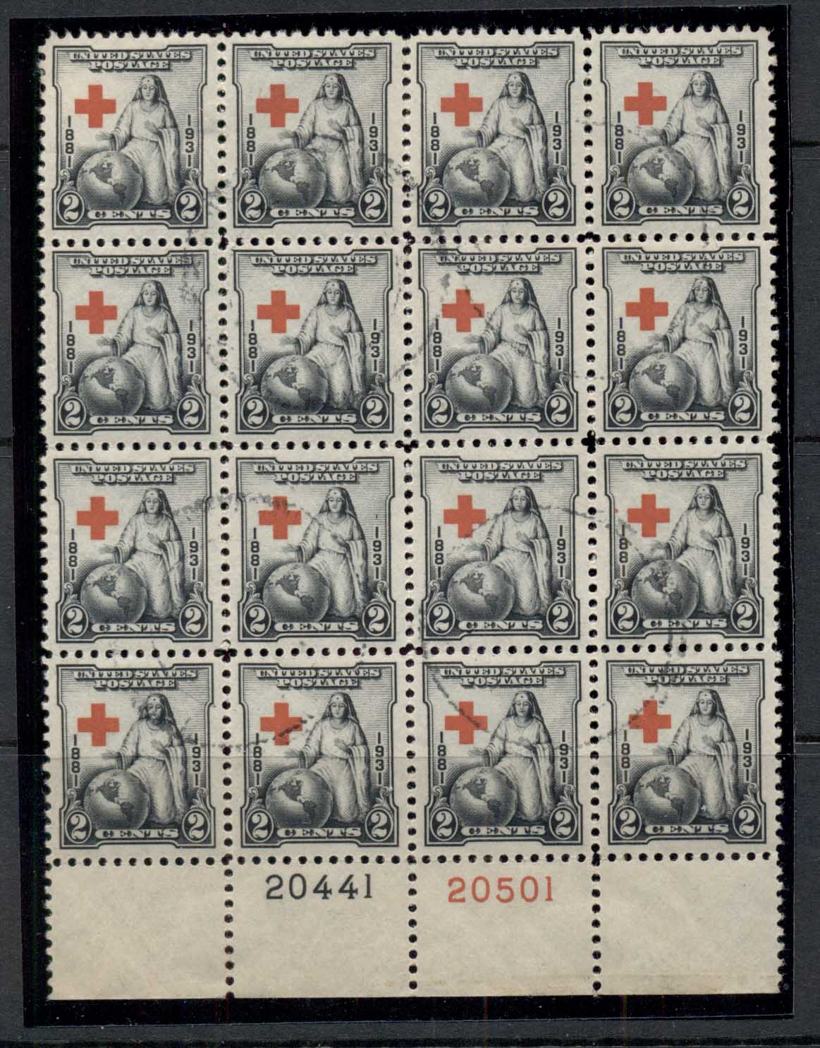 USA 1931 Sc#702 Red Cross PB#20441/20501 blk 16 FU