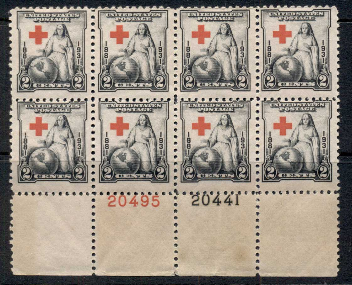 USA 1931 Sc#702 Red Cross PB#20495/20441 MUH/MLH