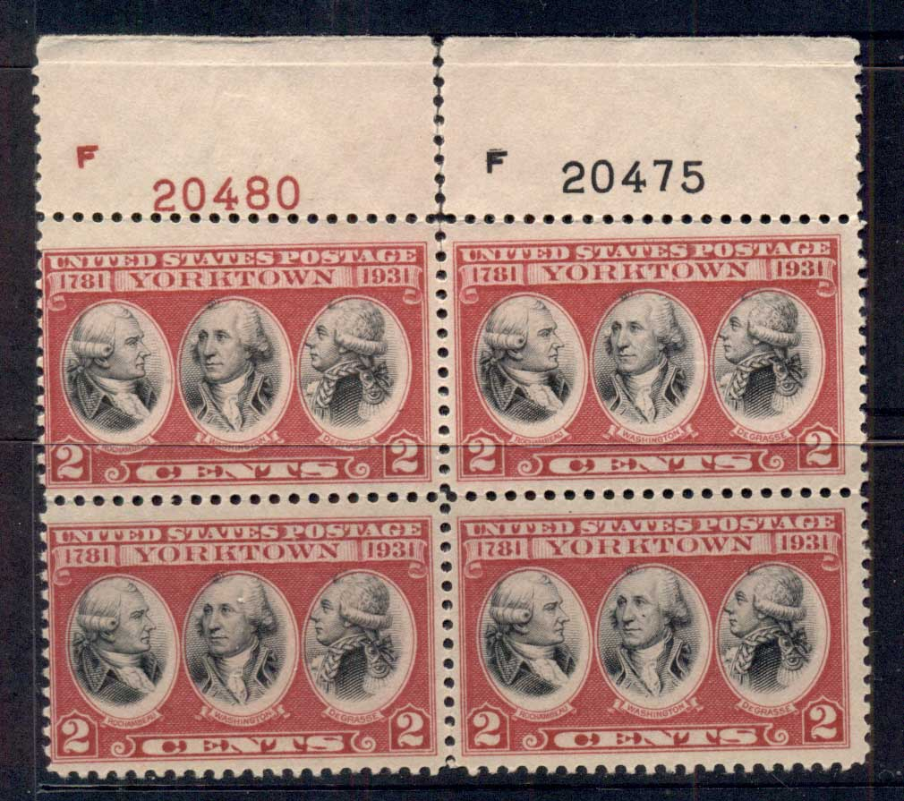 USA 1931 Sc#703 Surrender of Yorktown PB#20480/20475 MISPERF MNG
