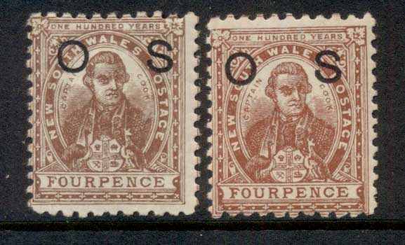 NSW 1888-89 Capt Cook 4d brown + red brown opt OS MUH