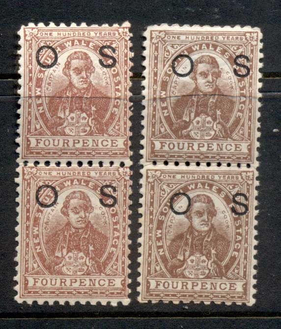 NSW 1888-89 Capt Cook 4d brown + red brown opt OS pr MUH