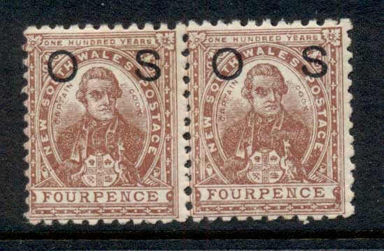 NSW 1888-89 Capt Cook 4d red brown opt OS pr MUH