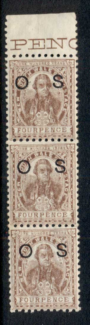NSW 1888-89 Capt Cook 4d brown opt OS str3 MUH