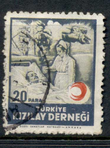 Turkey 1945 Postal Tax Red Crescent DOUBLED FU