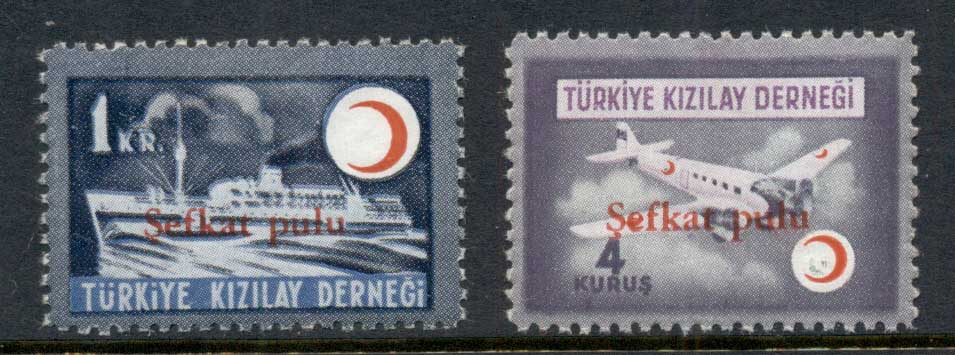 Turkey 1949 Ship, Plane, Airmail Opts 1k,4k MLH