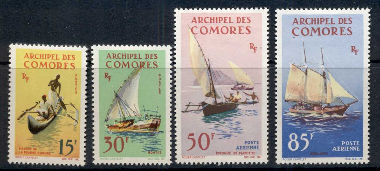 Comoro Is 1964 Ships, Canoe, Pirogue, Dhow MLH