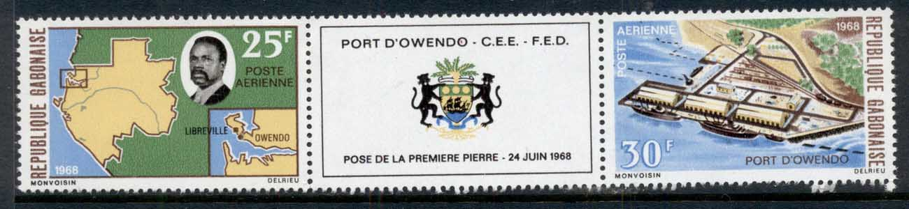 Gabon 1968 Owendo Harbour pr = label MUH