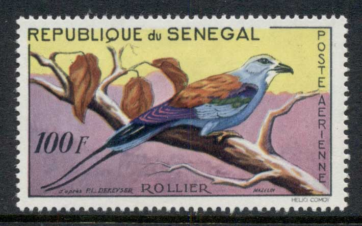 Senegal 1961 Bird, Abyssinian Rolle 100f MLH