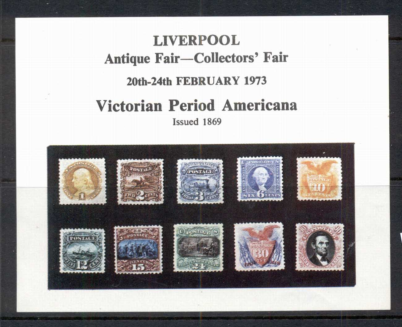 GB-USA 1973 Liverpool (UK)Antique Fair Pictorials Souvenir MS
