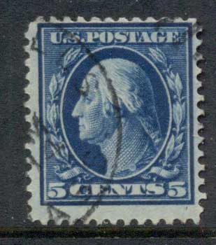 USA 1910-11 Sc#378 5c blue Washington Perf 12 Wmk S/L FU