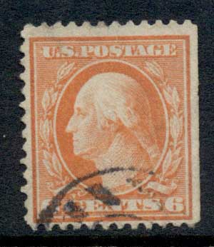 USA 1910-11 Sc#379 6c red orange Washington Perf 12 Wmk S/L FU