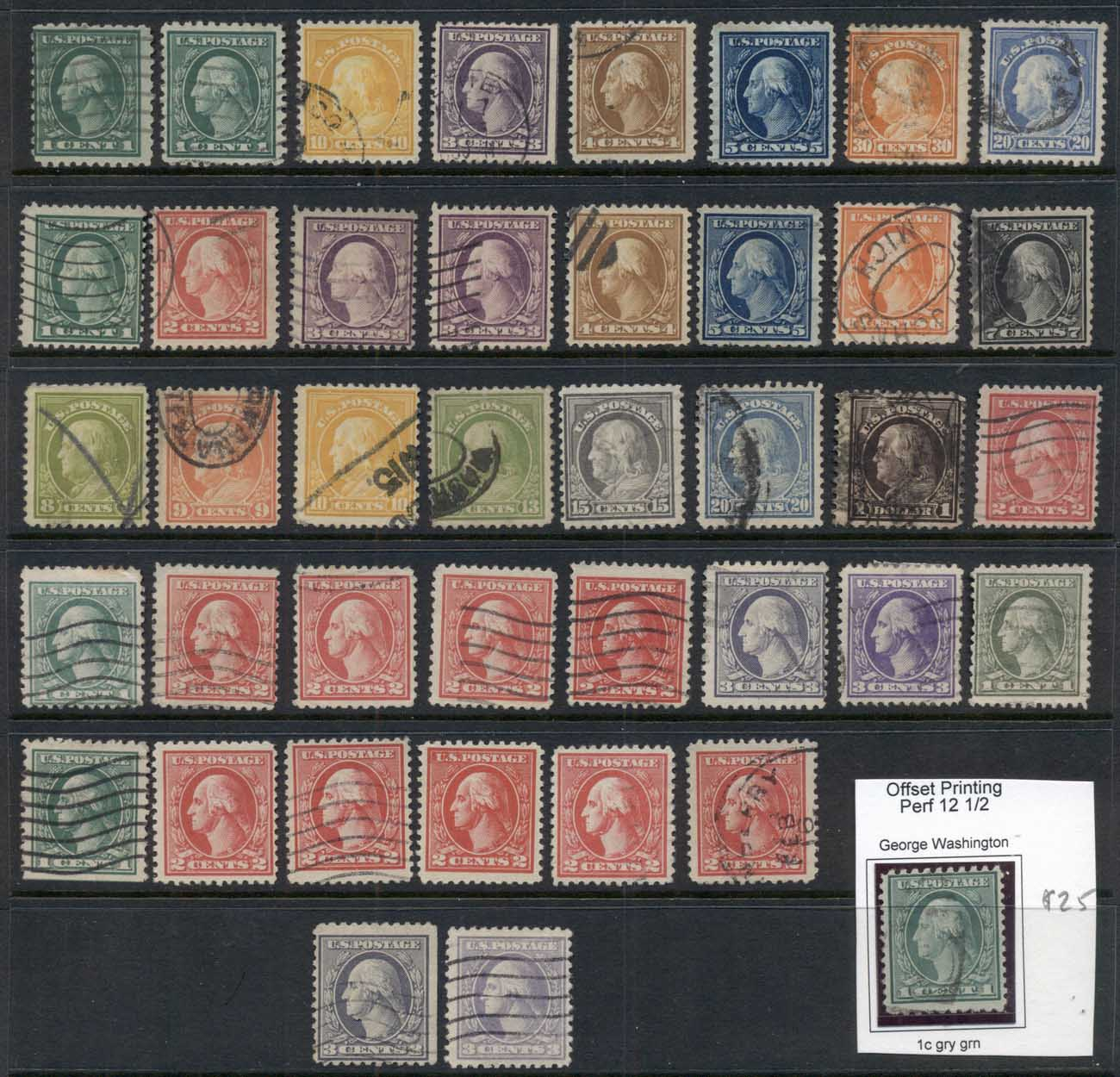 USA 1910 on Washington -Franklins Assorted oddments, most Perf 11, some better 1c & 2c Types MLH/FU