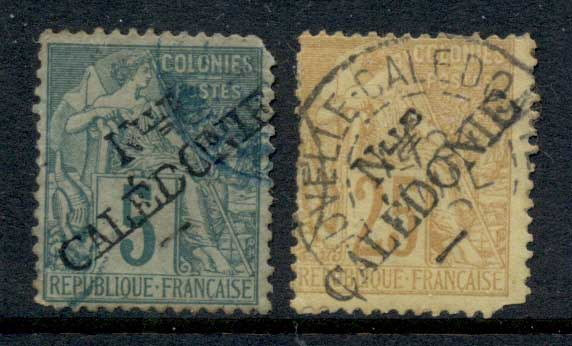 New Caledonia 1892 Surch 5,10c (faults) FU