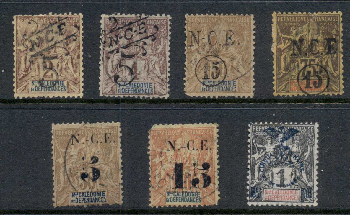 New Caledonia 1900-01 Navigation & Commerce Asst Surcharges (faults) FU