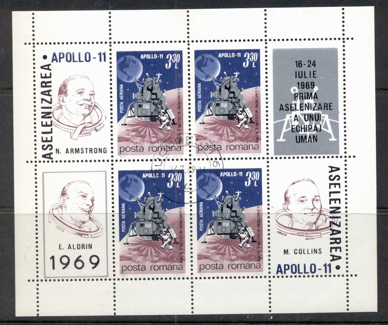 Romania 1969 Apollo 11 Space Mission MS CTO