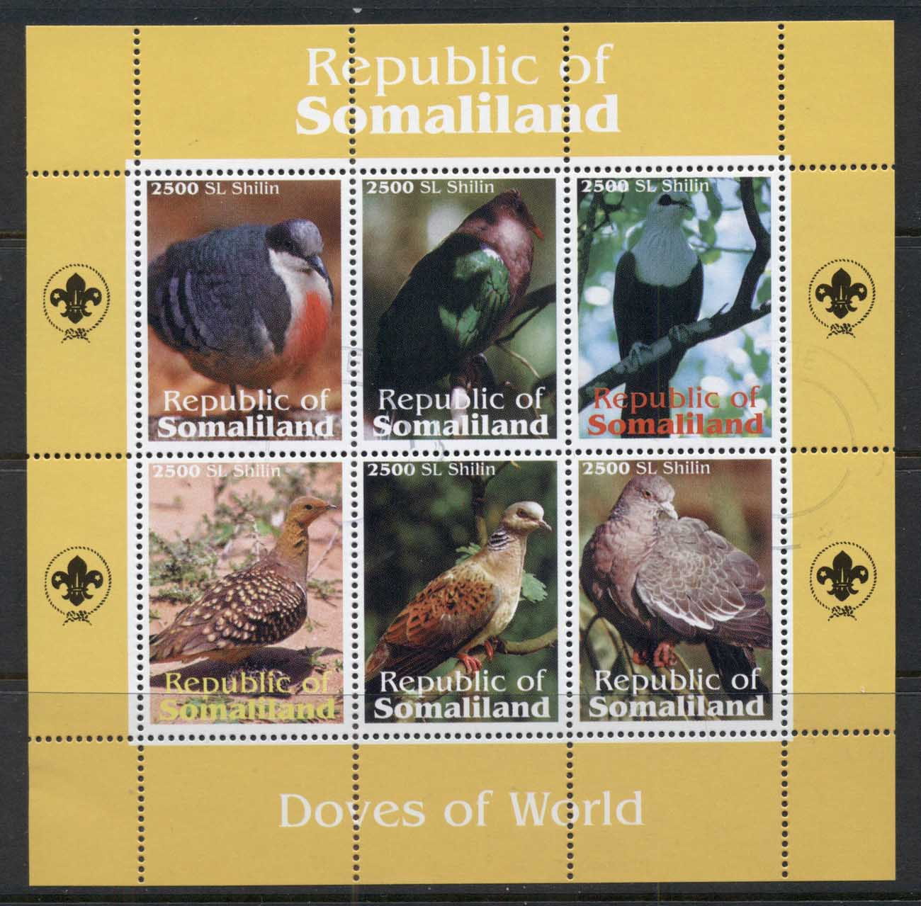 Somaliland 2010c. Birds, Doves of the World MS CTO
