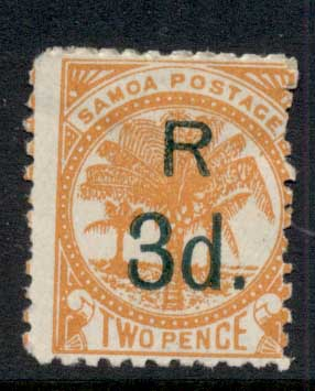 Samoa 1895 Palms Surch 3d on 2d orange MLH