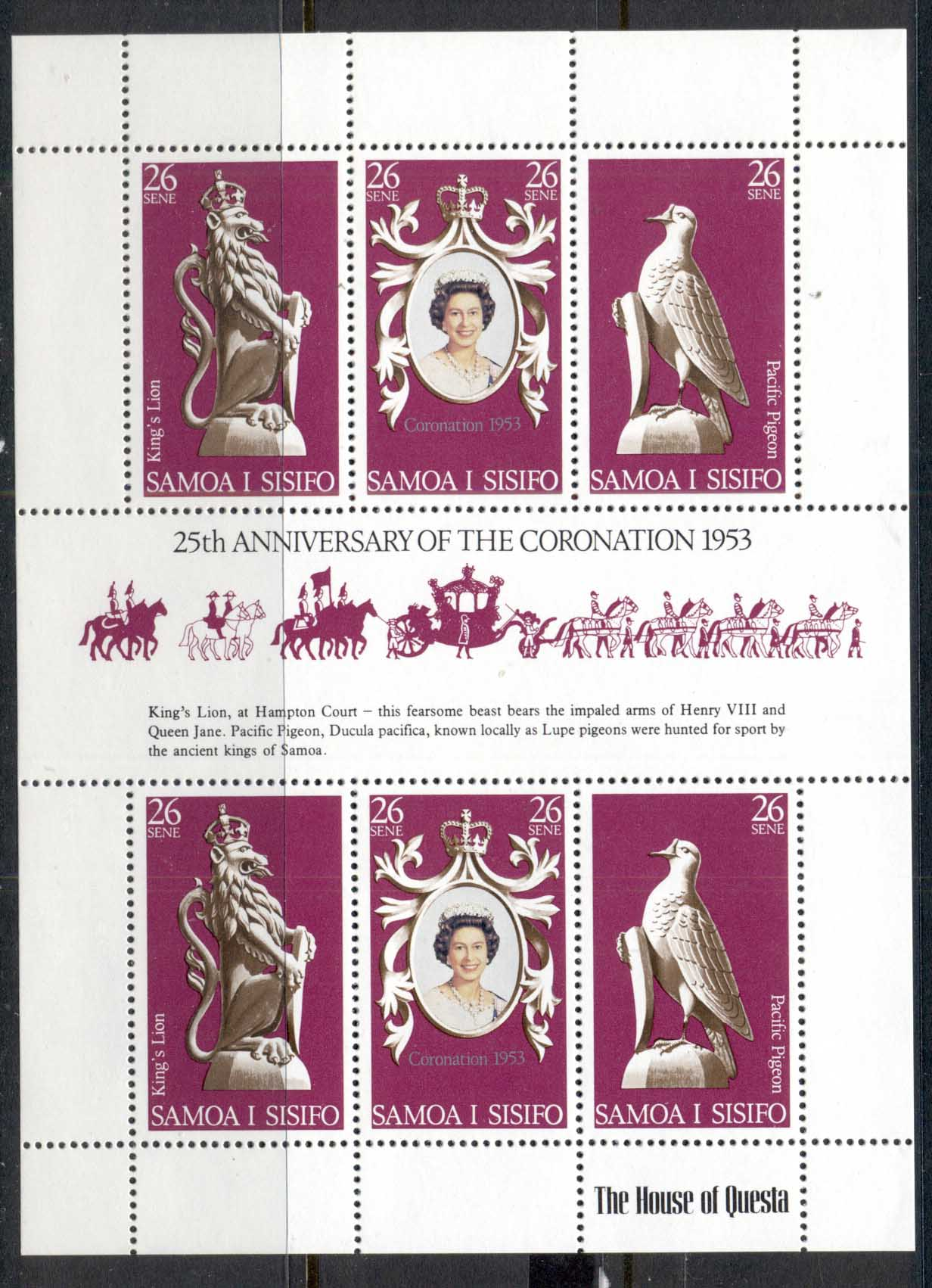 Samoa 1978 QEII Coronation 25th Anniv. MS MUH